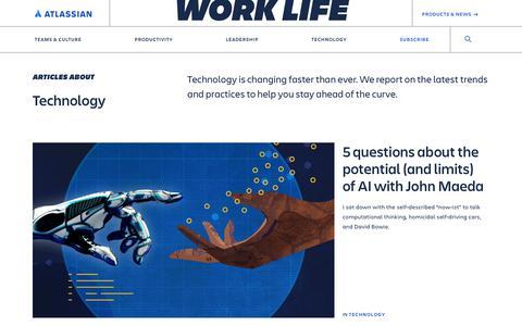 Screenshot of Blog atlassian.com - Technology –Work Life by Atlassian - captured Feb. 8, 2020