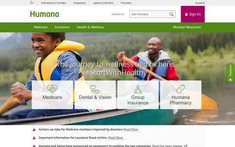 Screenshot of Home Page humana.com - Health Insurance, Medicare Insurance and Dental Insurance | Humana​ - captured Sept. 17, 2016
