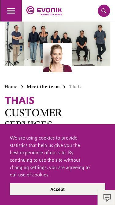 Screenshot of Team Page  evonik.com - Thais                                                                - Evonik Careers