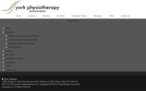 Screenshot of Site Map Page yorkphysio.ca - Home - York Physiotherapy Associates- Richmond Hill and Maple Physiotherapy, Massage Therapy, Rehabilitation, Orthotics - captured Dec. 11, 2016