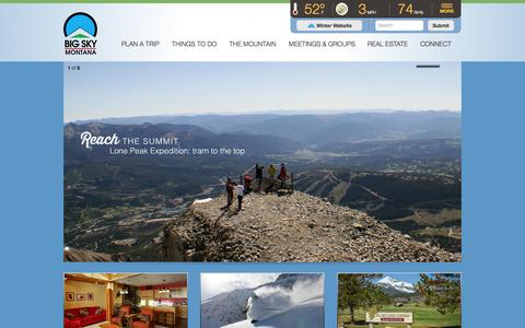 Screenshot of Home Page bigskyresort.com - Big Sky Resort, Montana | The Basecamp to Yellowstone and The Biggest Skiing in America - captured Sept. 19, 2014