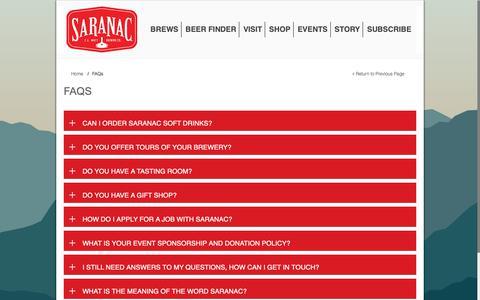 Screenshot of FAQ Page saranac.com - FAQs | Saranac Brewery - captured Nov. 14, 2018