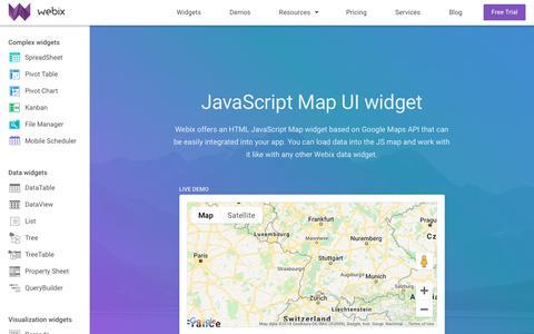 Screenshot of Maps & Directions Page webix.com - Map widget - JavaScript UI components based on Google Maps - Webix UI - captured Oct. 19, 2018