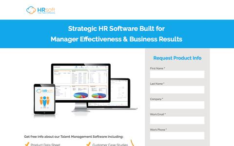Screenshot of Landing Page hrsoft.com - Talent Management Software by HRsoft - captured Sept. 6, 2016