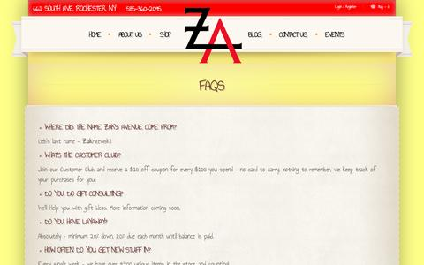 Screenshot of FAQ Page zaksavenue.com - Faqs  |  				Zak's Avenue | Your One Stop Shop for Unique Gifts and Eclectic Urban Shopping - captured Jan. 10, 2016
