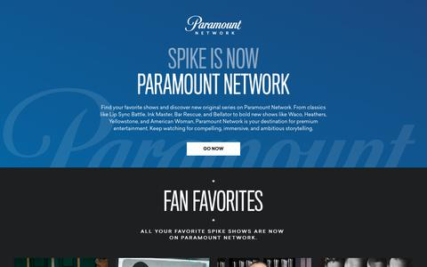 Screenshot of Home Page spike.com - Spike Is Now Paramount Network - captured Sept. 21, 2018