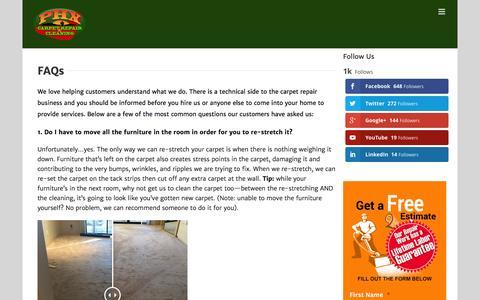 Screenshot of FAQ Page phoenixcarpetrepair.com - FAQs - Phoenix Carpet Repair & Cleaning - captured Jan. 28, 2016