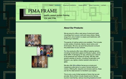 Screenshot of Products Page pimaframe.com - PIMA FRAME | tucson, arizona | products - captured Oct. 1, 2014