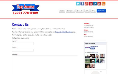Screenshot of Contact Page tagsamerica.com - Contact Us | Tags America - captured Oct. 27, 2014