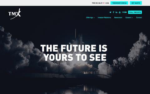 Screenshot of Home Page tmx.com - TMX - Homepage - captured Sept. 24, 2018