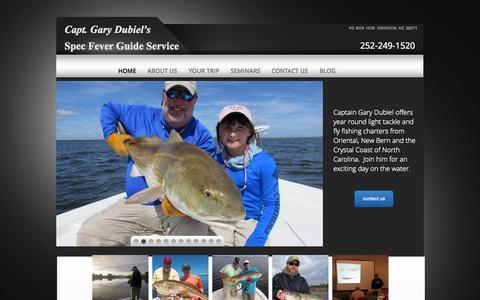 Screenshot of Home Page specfever.com - North Carolina inshore saltwater fishing guide - captured Aug. 12, 2015
