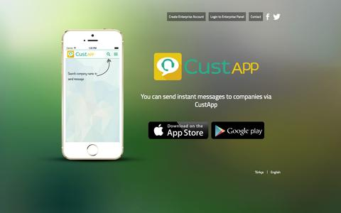 Screenshot of Home Page custapp.co - CustApp | Get in touch with companies - captured Sept. 12, 2015