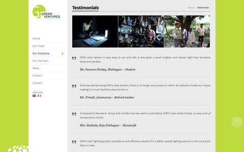 Screenshot of Testimonials Page greenventuresinternational.com - Testimonials - Green Ventures International - captured March 1, 2016