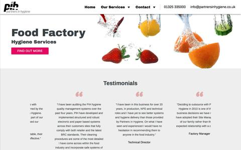 Screenshot of Home Page partnersinhygiene.co.uk - Food Factory Hygiene and Industrial Deep Cleaning Services - captured July 14, 2017