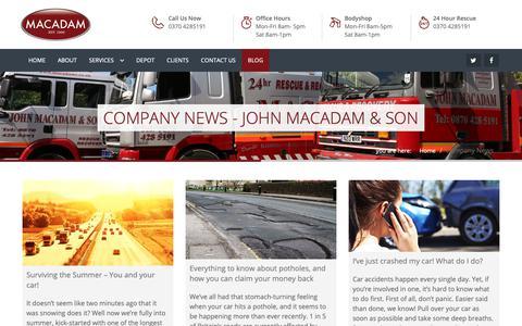 Screenshot of Blog macadams.co.uk - Company News - John Macadam & son - captured Oct. 14, 2018
