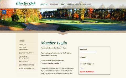 Screenshot of Login Page charteroakcc.com - Charter Oak Country ClubMember Login - captured Nov. 4, 2016