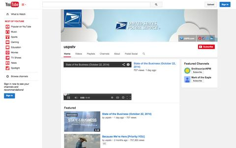Screenshot of YouTube Page youtube.com - uspstv  - YouTube - captured Oct. 26, 2014