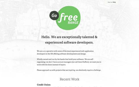 Screenshot of Home Page gofreerange.com - Go Free Range build outstanding software for the web. - captured Oct. 2, 2014