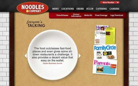Screenshot of Press Page noodles.com - Noodles & Company: Pressroom - captured Sept. 22, 2014