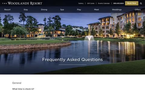 Screenshot of FAQ Page woodlandsresort.com - Resort FAQ | The Woodlands Resort & Conference Center - captured May 30, 2019