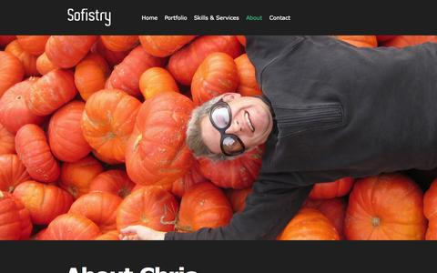 Screenshot of About Page sofistry.com - Sofistry   Creative Craftsman About Chris » Sofistry - captured Oct. 7, 2014