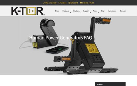 Screenshot of FAQ Page k-tor.com - Human Power  Generators FAQ  | Human Powered Electricity Answers - captured Oct. 1, 2018