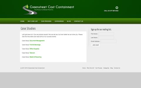 Screenshot of Case Studies Page greenstreetcc.com - Case Studies | Greenstreet Cost Containment - captured Oct. 3, 2014
