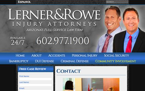 Screenshot of Contact Page lernerandrowe.com - Contact • Lerner & Rowe Injury Attorneys - captured Oct. 2, 2014