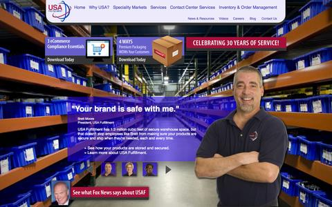 Screenshot of Home Page usafill.com - USA Fulfillment Offers Professional Fulfillment Services for Web and Ecommerce Solutions - captured Oct. 6, 2014