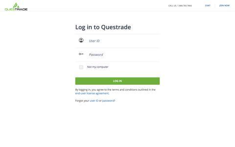 Screenshot of Login Page questrade.com - Log in to Questrade - captured June 10, 2019