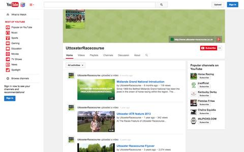 Screenshot of YouTube Page youtube.com - UttoxeterRacecourse  - YouTube - captured Nov. 5, 2014