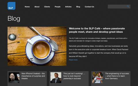 Screenshot of Blog slpglobal.com - SLP Global - captured Oct. 27, 2014