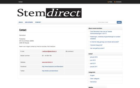 Screenshot of About Page Contact Page stemdirect.nl - Contact | Stemdirect - captured Aug. 16, 2016