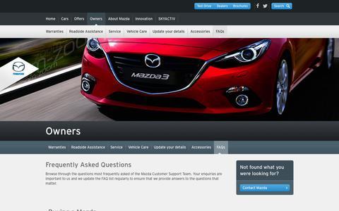 Screenshot of FAQ Page mazda.com.au - Buying a Mazda - captured Oct. 27, 2014
