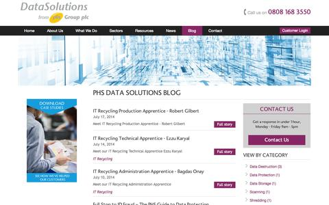 Screenshot of Blog phsdatasolutions.co.uk - Blog - PHS Data Solutions Comment, Guides, Tips - data management - captured Oct. 9, 2014