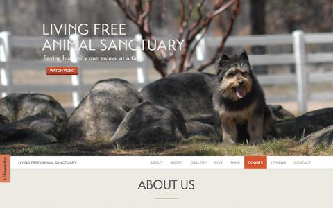 Screenshot of Home Page living-free.org - Living Free Animal Sanctuary - captured March 11, 2016