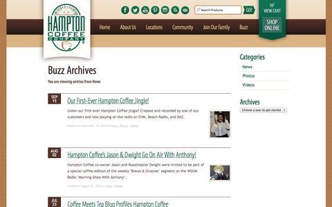 Screenshot of Press Page hamptoncoffeecompany.com - Hampton Coffee Company - captured Sept. 29, 2014