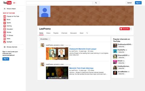 Screenshot of YouTube Page youtube.com - LawPromo  - YouTube - captured Oct. 22, 2014