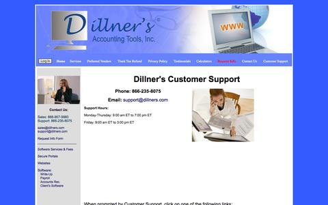Screenshot of Support Page dillners.com - Write-Up, Payroll, Accounts Receivable Software, Websites for Accountants|Customer Support - captured Oct. 5, 2014