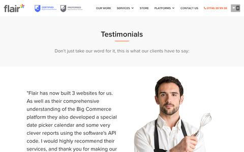 Screenshot of Testimonials Page flairconsultancy.com - Top Rated BigCommerce Web Design, Marketing, Optimisation & SEO - captured Oct. 14, 2017