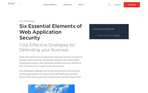 Six Essential Elements of Web Application Security Whitepaper | Qualys, Inc.