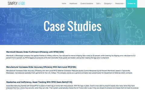 Screenshot of Case Studies Page simplyrfid.com - SimplyRFID - Information - captured Sept. 20, 2018