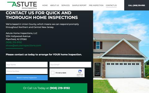 Screenshot of Contact Page astuteinspections.com - Contact Us For Quick And Thorough Home Inspections - captured Dec. 18, 2018