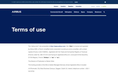 Screenshot of Terms Page airbus.com - Terms of use - captured Jan. 25, 2019