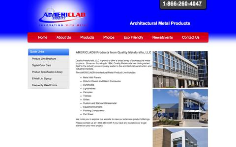 Screenshot of Products Page americlad.com - Explore the AMERICLAD® Line of Products - Quality Metalcrafts, LLC - Architectural Metal Products - 1-866-260-4047 - Innovating with Metal® - captured Oct. 3, 2014