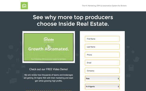 Screenshot of Landing Page irewebsites.com - Inside Real Estate - Website, Lead-Generation, CRM & Automation System - captured Oct. 21, 2016
