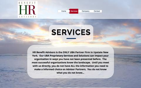 Screenshot of Services Page hr-benefit.com - hrbenefitadvisors | Services - captured July 10, 2017