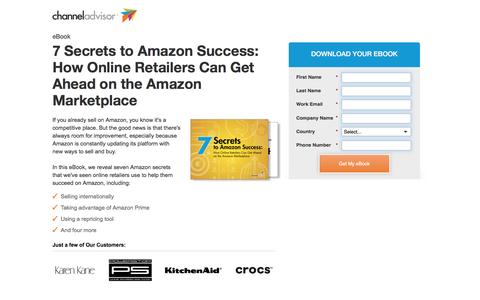 Screenshot of Landing Page channeladvisor.com - 7 Secrets to Amazon Success | ChannelAdvisor - captured July 9, 2016