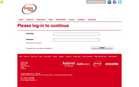 Screenshot of Login Page andrewpage.com - Andrew Page | Quality Car Parts Supplier for all Vehicle Makes and Models - Login page - captured Sept. 26, 2018