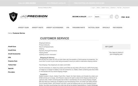 Screenshot of Support Page jagprecision.com - Customer Service Jag Precision Airsoft Wholesale - captured June 8, 2017
